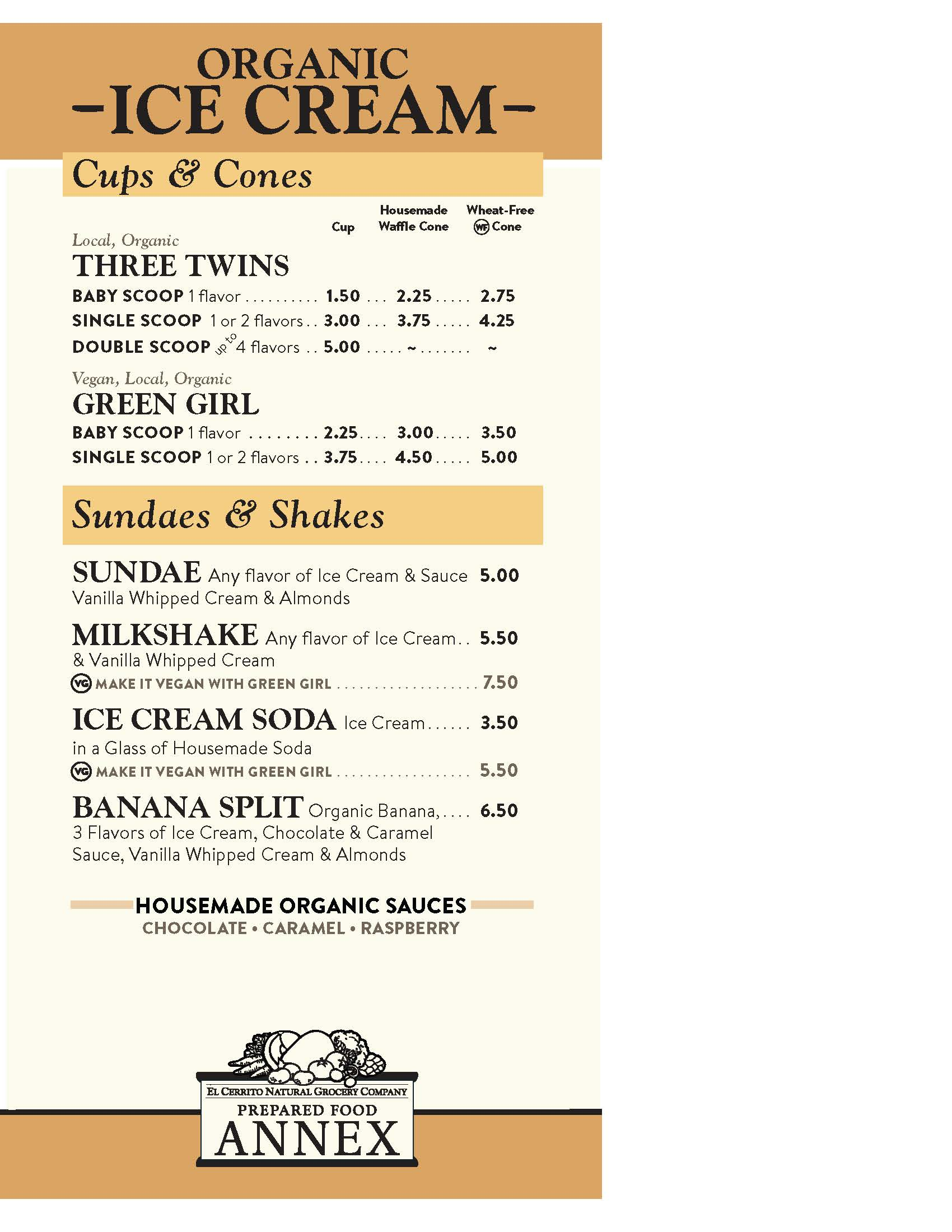 Ice Cream Menu May 2016